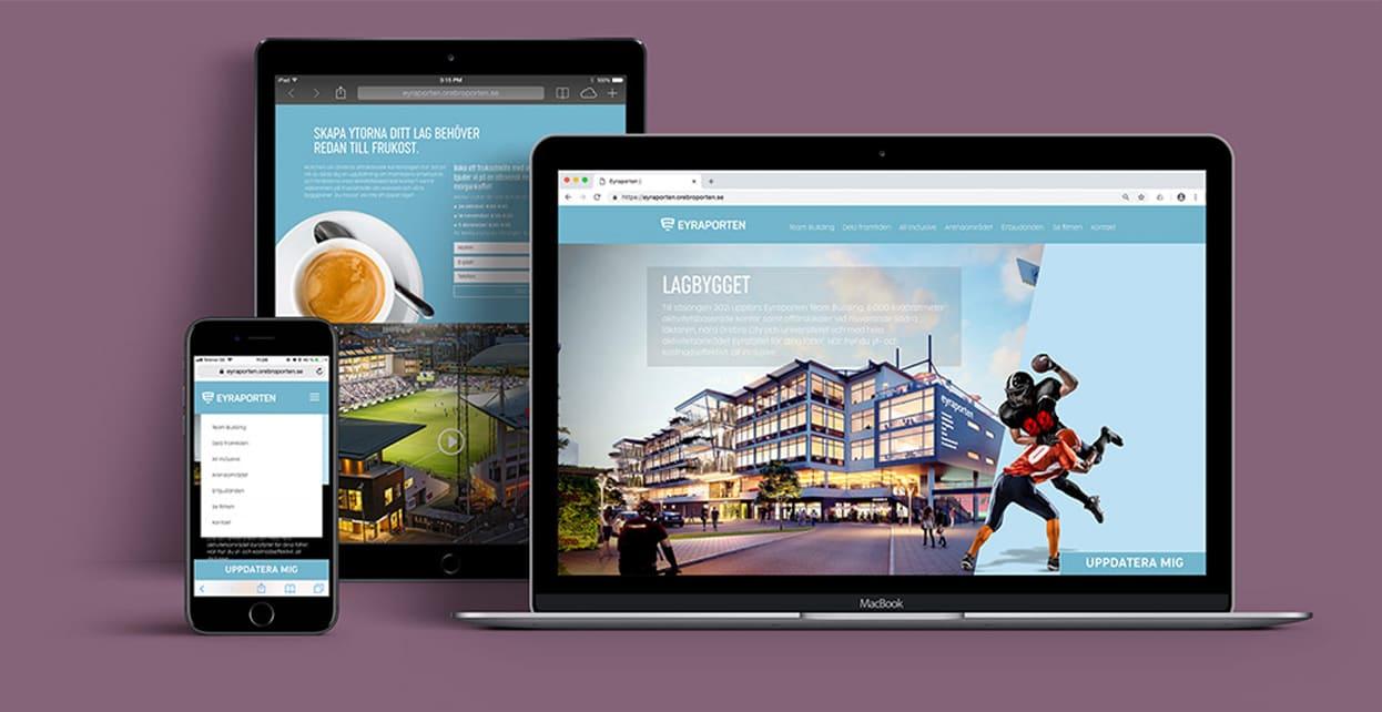 Eyraportens hemsida på desktop och ipad och i mobil