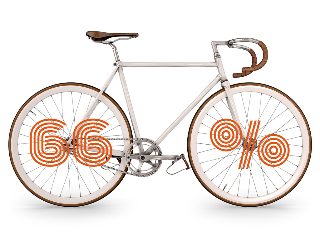 Cykel med siffrorna 66%
