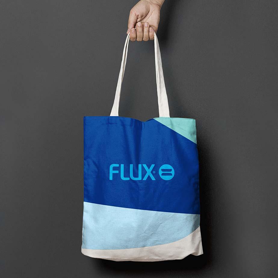 Flux Fluor, tygkasse med logotyp