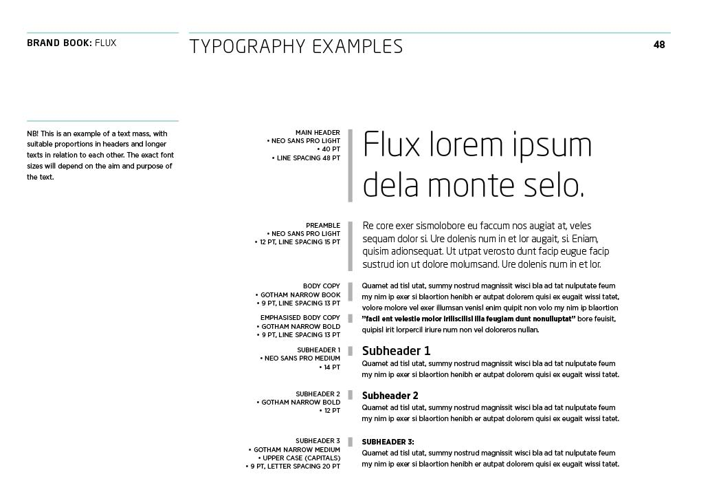 Flux Fluor, brandbook, typografi