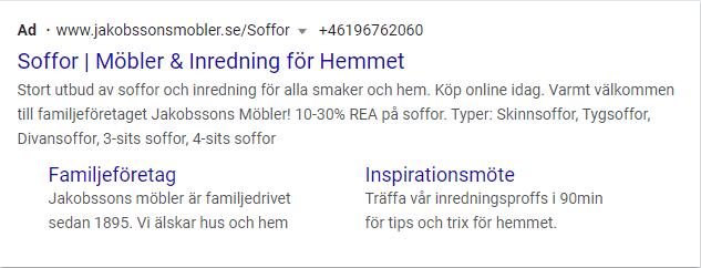 Exempel på digital marknadsföring för Jakobssons Möbler