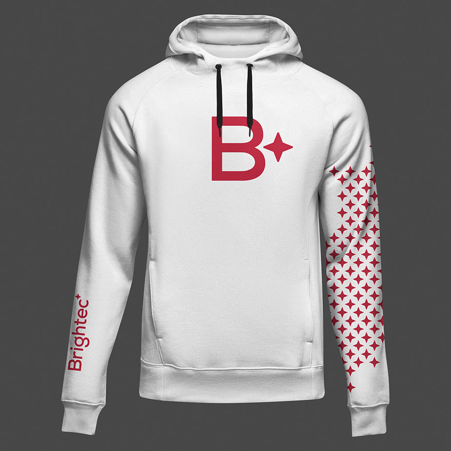 Exempel på en hoodie för Brightec