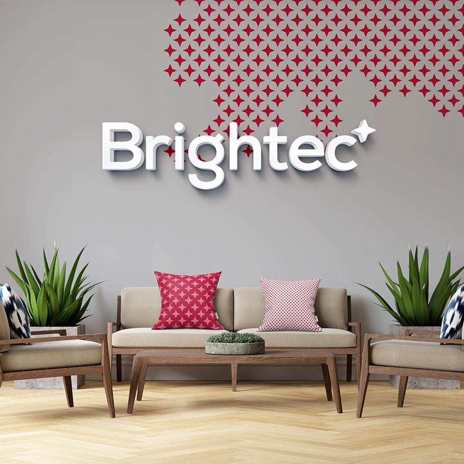 Brightecs nya logotyp och mönster på en vägg